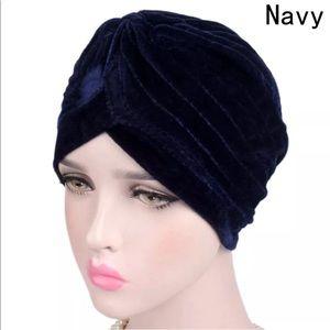 Navy Velvet Turban Fall Favorite